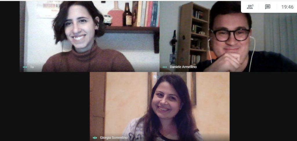 Alcuni componenti del Collettivo Peppe Valarioti: Martina, Daniele e Giorgia